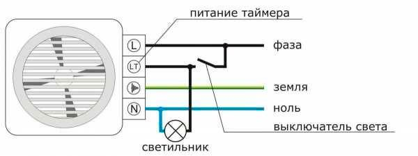 Схема электропроводки в санузле для вентилятора с таймером
