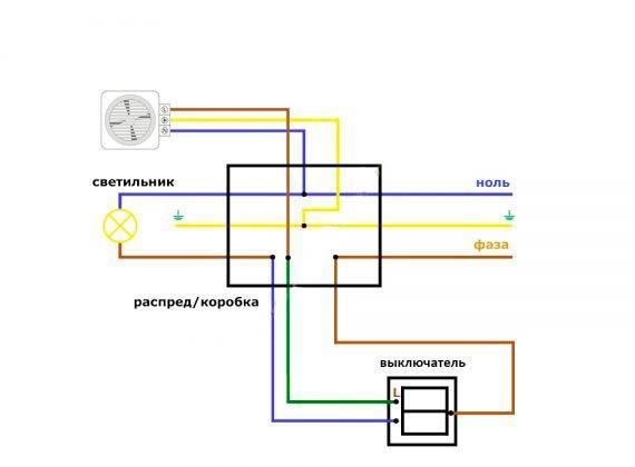 Электрическая схема подключения вентилятора от двухклавишного выключателя