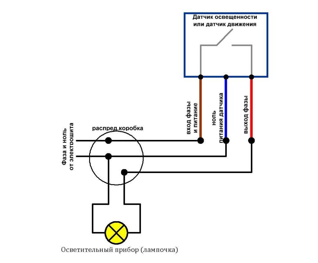 Схема соединения датчика для лампочки