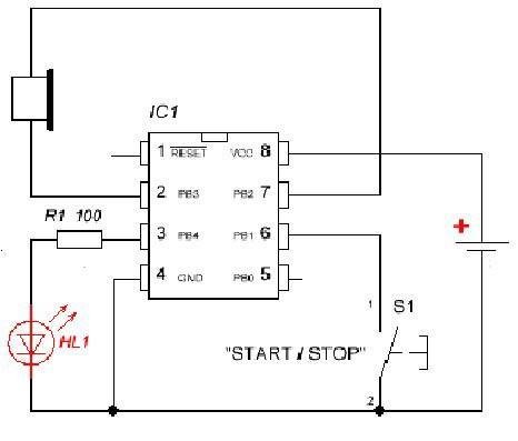 Схема простого таймера