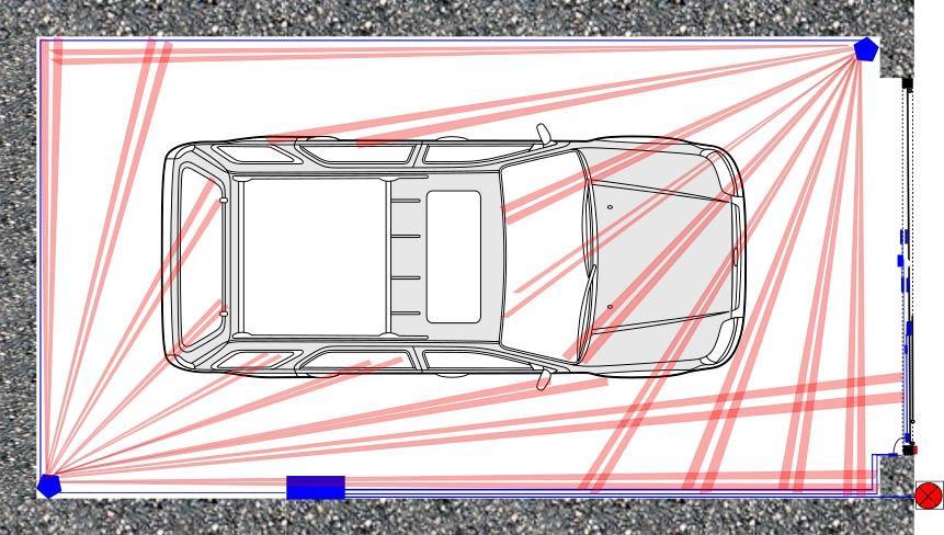 Схема расположения датчиков движения в гараже
