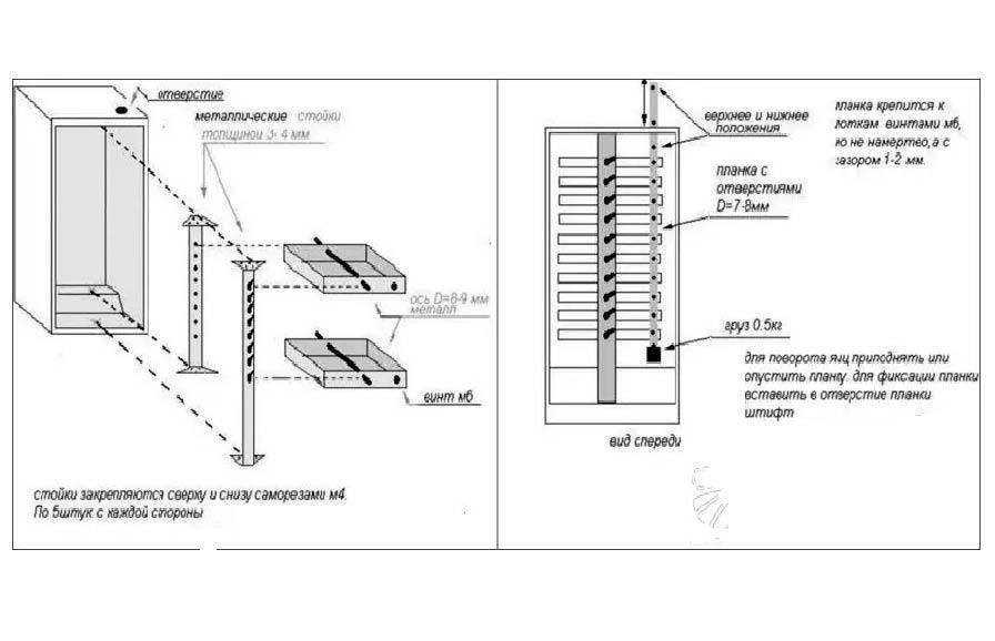Схема поворотного механизма инкубатора